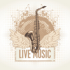 saxophone with wings and the words Live Music