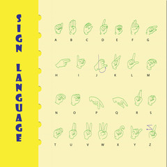 Sign language and the alphabe on yellow paper with blue line.