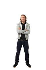portrait of man dressed casual, isolated on white background