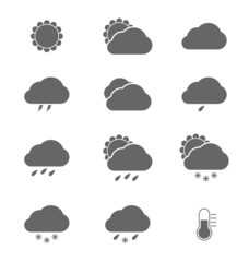 Grey weather icons on white