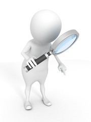 3d white man examines through a magnifying glass
