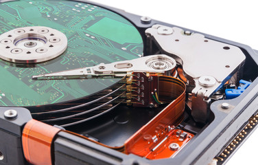 Hard disk drive and circuit board on it's surface.