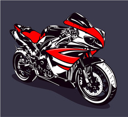 Aluminium Prints Motorcycle Red sport motorbike