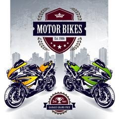 Two sport motorbikes with stylish club emblem