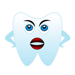 an angry tooth on a white background