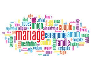 """Nuage de Tags """"MARIAGE"""" (couple amour noces fête union mariée)"""