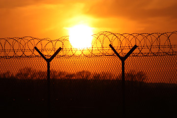 Security fence at sunset with barbed wire