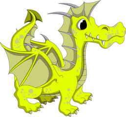 Cute yellow dragon cartoon