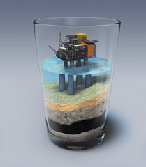 Oil platform in the glass