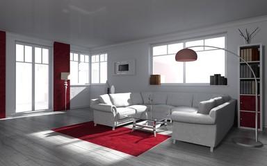 Wohndesign - modern wohnen in rot