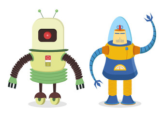 Poster de jardin Robots set of two retro robots