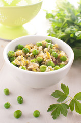 Brown rice risotto with green pesto
