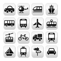 Transport, travel vector buttons set isoalated on white