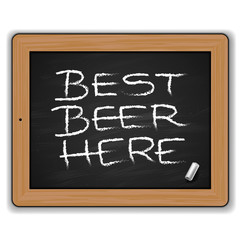 Blackboard with beers menu, vector Eps10 illustration.