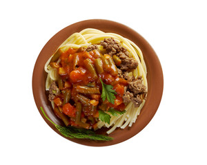 pasta with beef  tomato sauce