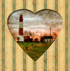 Tuinposter Vintage Poster Vintage Heart - Leuchtfeuer
