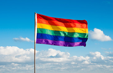 Rainbow Gay Pride Flag, Miami Beach, Florida, USA