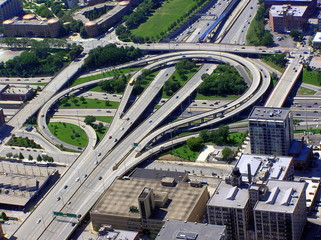 Aerial view of intersection in Chicago city