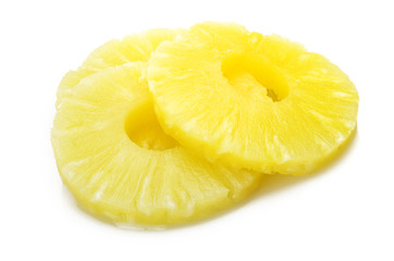 slice of pineapple  on the white background
