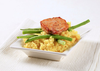 Marinated pork with couscous and green beans