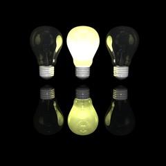3D light bulb lighting in darkness. Concept - the best.