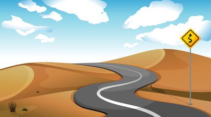 A narrow road at the desert