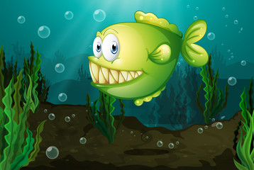 Poster Submarine A green fish with big fangs under the sea
