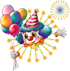 A clown with balloons and a firework display