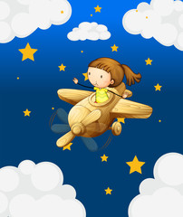 Fotorollo Himmel A girl riding in a wooden plane