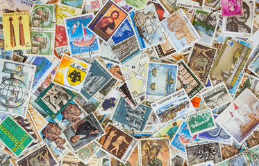 Collection of various stamps background