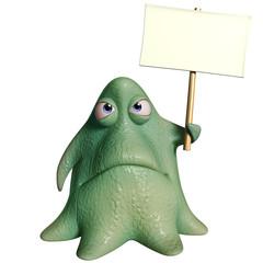 3d cartoon octopus monster holding placard