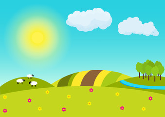 Poster Turquoise Sunny countryside landscape illustration