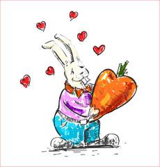 In love rabbit holding heart shaped carrot