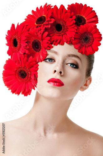 Fashion Model With Hairstyle And Red Flowers In Her Hair Stock