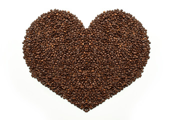 Heart shape made of coffee beans isolated over white background