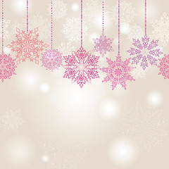snowflakes vector background. Christmas festive border