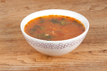 bowl of hot tomato soup