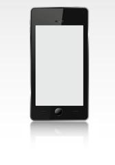 Realistic mobile phone ((smartphone).