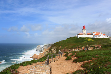 Foto auf AluDibond Himmelblau Cabo Da Roca, and lighhouse Portugal