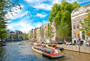 Autocollant pour porte Amsterdam One of canals in Amsterdam