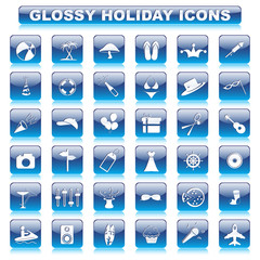 vector illustration of complete set of glossy holiday button