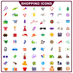 vector illustration of complete set of shopping icon