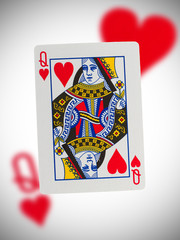Playing card, queen of hearts