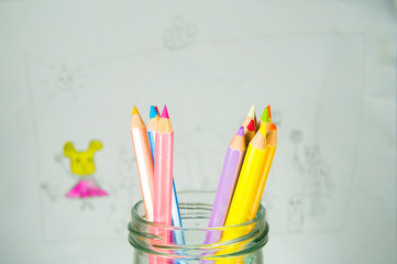 Color pencil in with drawing background