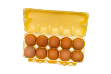egg box packaging grid eggs isolated