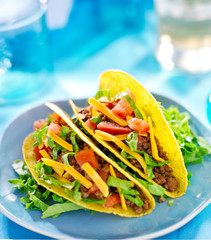Mexican food - Hard shell tacos with beef