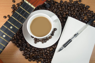 Mocha coffee and music