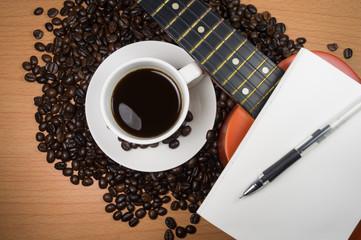 Coffee, espresso and guitar