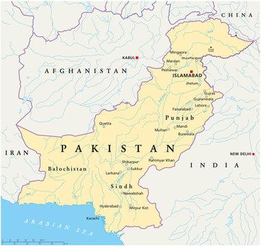 Pakistan map (Pakistan Landkarte)