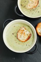 Bowl of cream of broccoli soup
